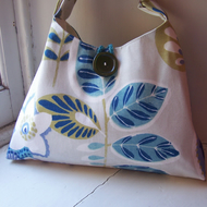 Aberdour - textile shoulder bag in grey, white, lime, blue and turquoise