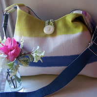 Soft fabric shoulder bag in white, lime and blue - Black Ness