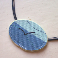 Oval hand and machine embroidered textile necklace - Tern