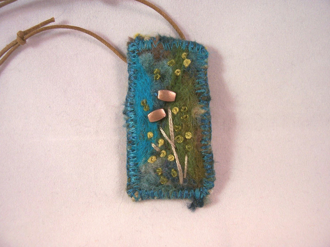 Needle felted and hand embroidered necklace - Lichen