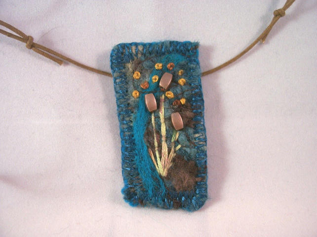 Felted and hand embroidered necklace - Bullrush