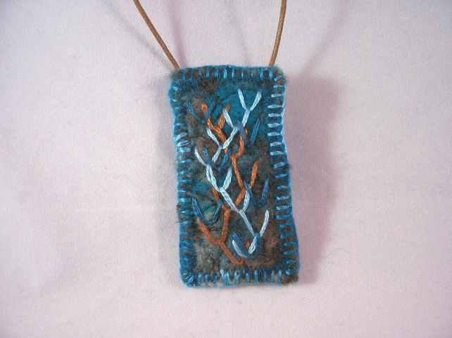 Sea marsh inspired felt and hand embroidered necklace - Samphire