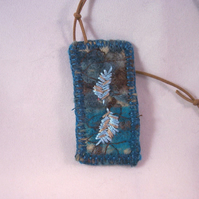 Felted and hand embroidered textile necklace - Vetch