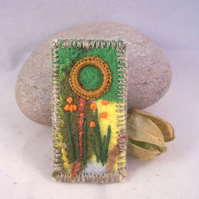 Hand embroidered needlefelt brooch - riverbank
