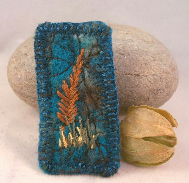 Felted and hand embroidered needlefelt brooch with tree design - Poplar