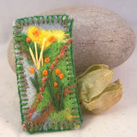 Hand embroidered needlefelt brooch - Meadow