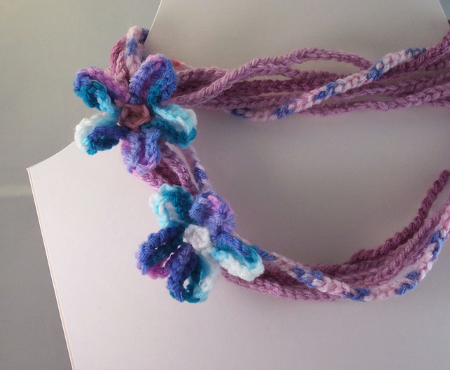 Crochet multi strand hippy necklace with flowers - Lilac
