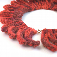 Hand knit choker necklace in red - Fire