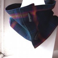 Unisex wool tartan cowl with faux button fastening and lining - Glenlivet