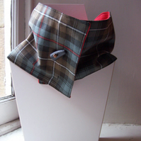 Unisex wool tartan cowl with faux button fastening - Glen Lyon