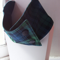 Unisex wool tartan cowl with faux button fastening - Glen Tilt