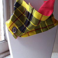 Unisex wool tartan cowl with faux button fastening - Glen Fruin