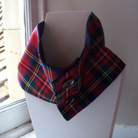 Unisex wool tartan cowl with faux button fastening - Glen Affric