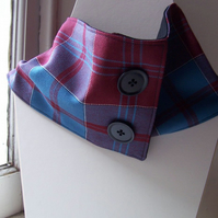 Unisex wool tartan cowl with faux button fastening - Glen Dochart