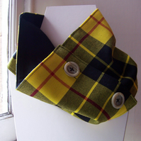 Unisex wool tartan cowl with faux button fastening - Glen Shee