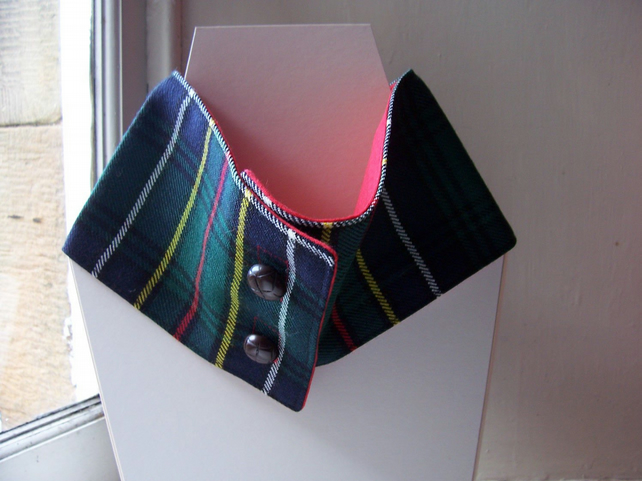Unisex wool tartan cowl with faux button fastening - Glen Nevis