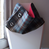 Unisex wool tartan cowl with faux button fastening - Glen Etive