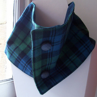 Unisex wool tartan cowl with faux button fastening - Glen Urquhart