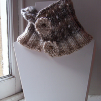 Lovely hand knit eyelet button fastening neckwarmer - Oatmeal
