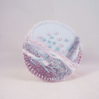 Hand embroidered fabric brooch - Jenny