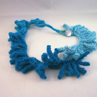 Textural hand knitted necklace in blue - Water