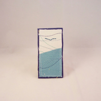 Gigha - hand and machine embroidered fabric brooch