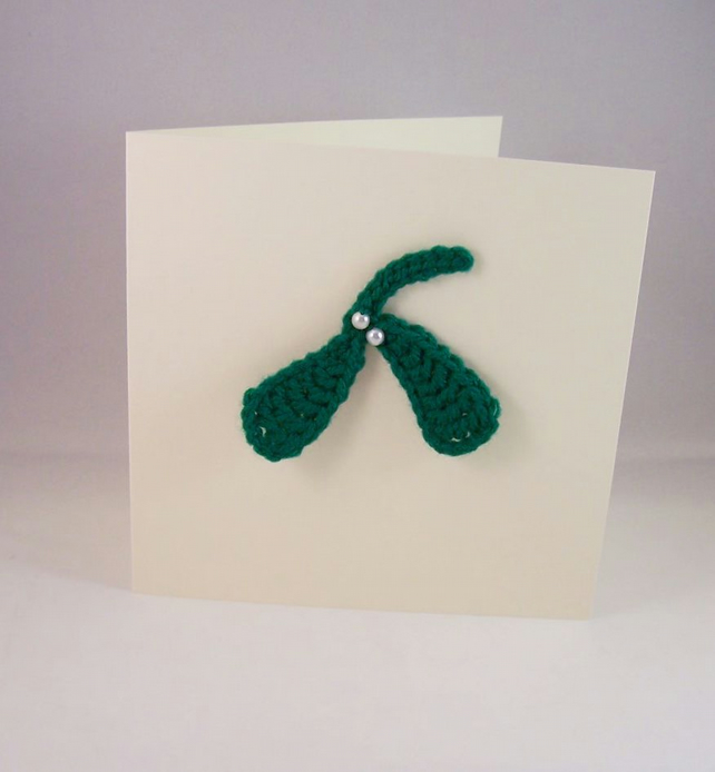 Mistletoe Card - dark green crocheted sprig with pearlised glass beads