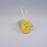 Hand embroidered felt mitten tree ornament - yellow and pink