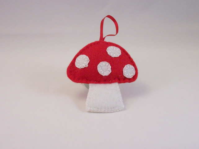 Hand embroidered felt toadstool hanging ornament