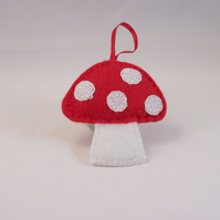 Hand embroidered felt toadstool hanging ornament - Made to Order