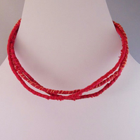 Wrapped silk choker style necklace in red silk - Scarlett