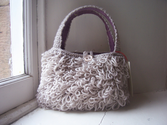 Quirky hand knitted handbag, loopy stitch - Molly