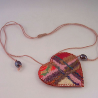 Embroidered love heart textile necklace - Belladonna