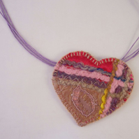 Embroidered love heart textile necklace - Sheba