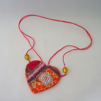 Embroidered love heart textile necklace - Mandarin