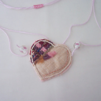 Embroidered love heart textile necklace - Cherry