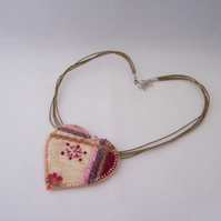 Embroidered love heart textile necklace - Ambrosia