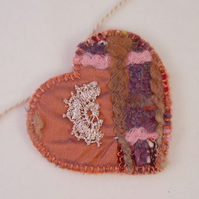 Hand and machine embroidered love heart textile necklace - Chestnut
