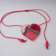 Embroidered love heart textile necklace - Rosehip