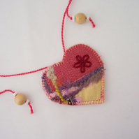 Embroidered love heart textile necklace - Hazel