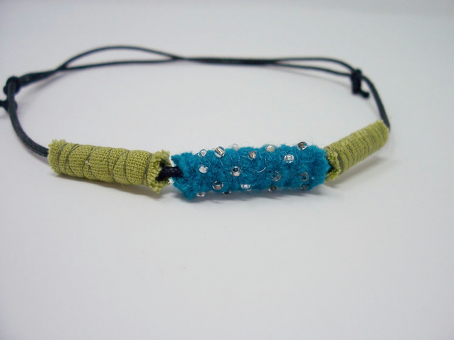 Fabric bead necklace with waxed cotton cord - Suva