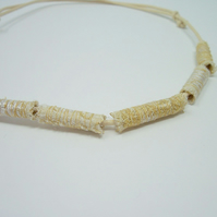Fabric bead necklace with waxed cotton cord - Namib