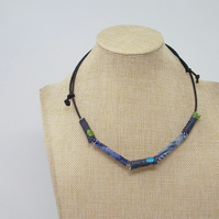 Fabric bead necklace with waxed cotton cord - Nautilus