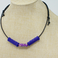 Fabric bead necklace with waxed cotton cord - Morticia