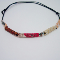 Fabric bead necklace with waxed cotton cord - Kanani