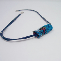 Fabric bead necklace with waxed cotton cord - Fiji