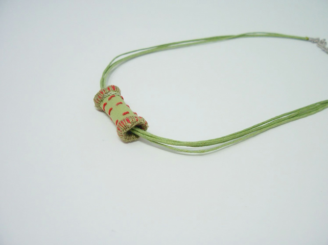 Embroidered fabric bead necklace with waxed cotton cord - Zesty