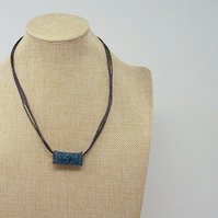 Fabric bead necklace with waxed cotton cord - Harris