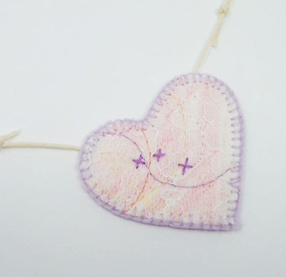 Hand embroidered lace Cross My Heart textile necklace - Lizzie