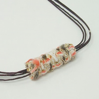 Fabric bead necklace with waxed cotton cord - Coco